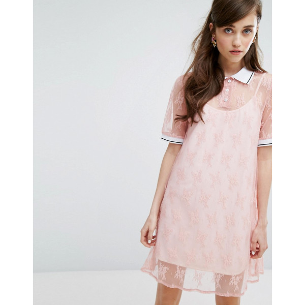 """SISTER JANE Sister Jane Turtleneck T-Shirt Dress In Lace With Slip - """"""""Dress by sister jane, Sheer-lace mesh, Lined design,..."""