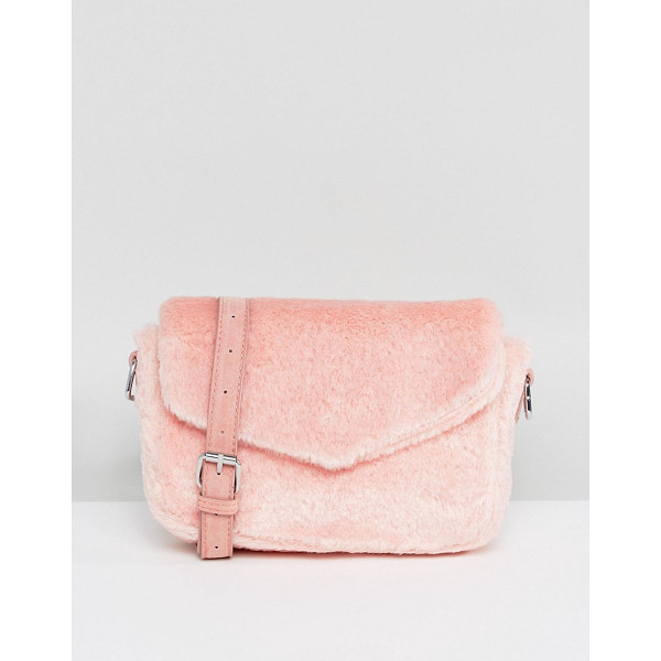 SKINNYDIP Pink Fluffy Cross Body Bag - Cart by Skinnydip, Soft-touch fluffy outer, Adjustable body...