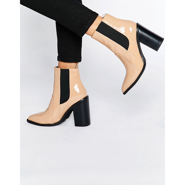 SOL SANA Lori Nude Patent Leather Heeled Ankle Boots - Boots by Sol Sana, Patent leather upper, Pull-on style,...