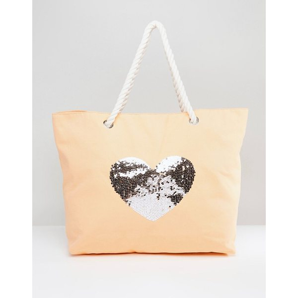 SOUTH BEACH Coral Washed Cotton Beach Bag With Sequin Star - Cart by South Beach, Cotton canvas outer, Rope handles,...