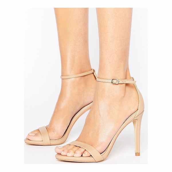 """STEVE MADDEN Stecy Nude Barely There Sandals - """"""""Sandals by Steve Madden, Faux-leather upper, Ankle-strap"""