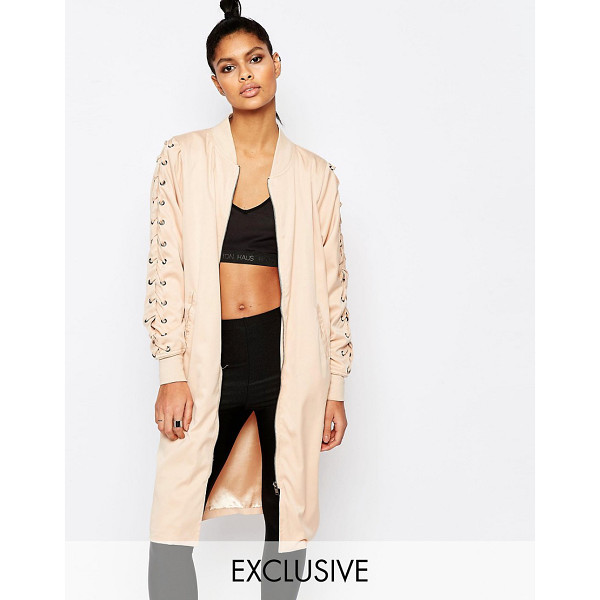STORY OF LOLA Longline bomber jacket with lace up detail - Jacket by Story of Lola Lined stretch cotton Baseball...