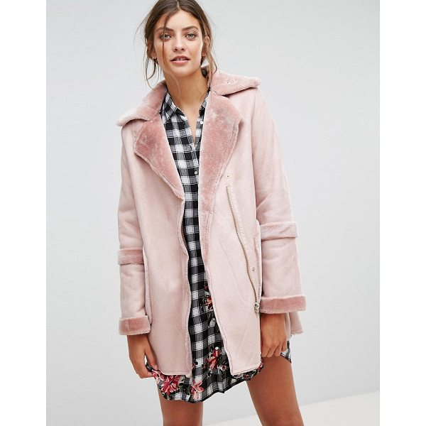 "STRADIVARIUS Faux Shearling Jacket - """"Jacket by Stradivarius, Soft-touch faux suede, Faux-fur..."