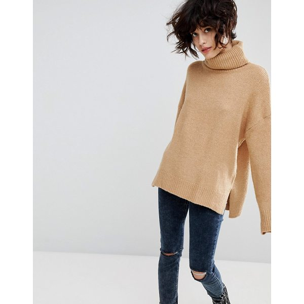 STRADIVARIUS High Neck Camel Sweater - Sweater by Stradivarius, High neck, Dropped shoulders,...