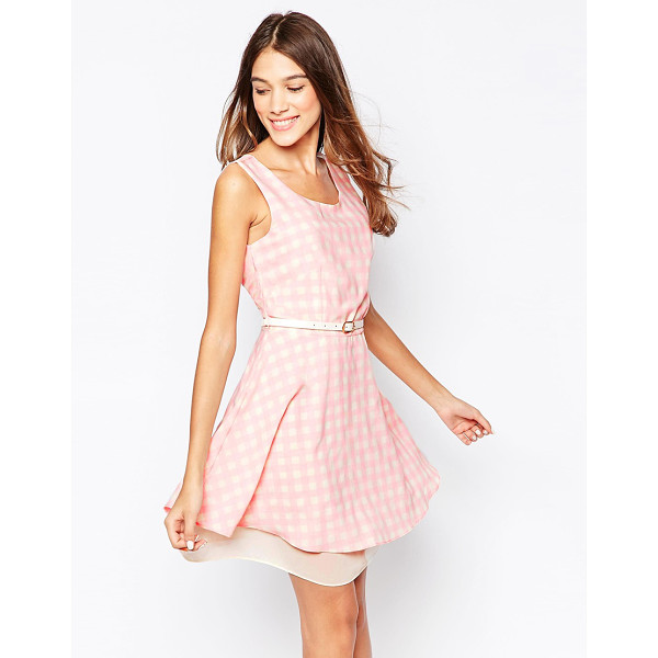STYLE LONDON Skater dress in gingham print with belt - Casual dress by Style London Lightweight woven fabric...