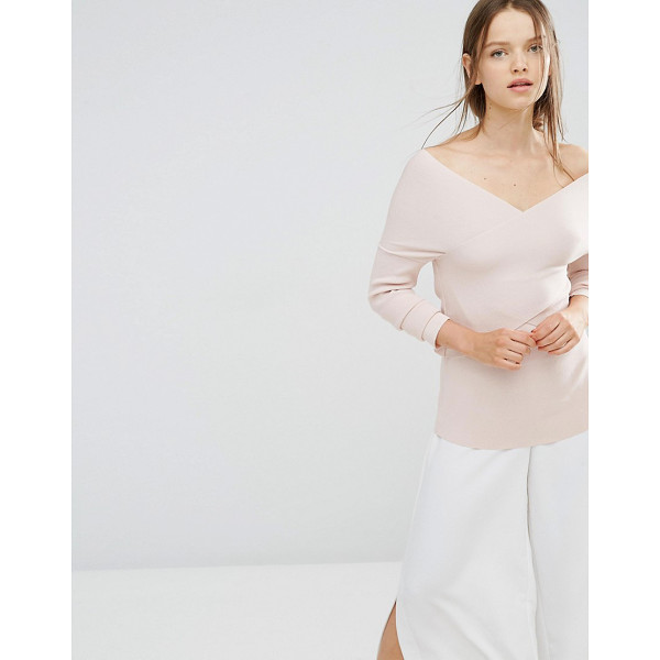STYLE MAFIA Saunder Off the Shoulder Wrap Top - Top by Style Mafia, Lightly ribbed jersey, Off-shoulder...