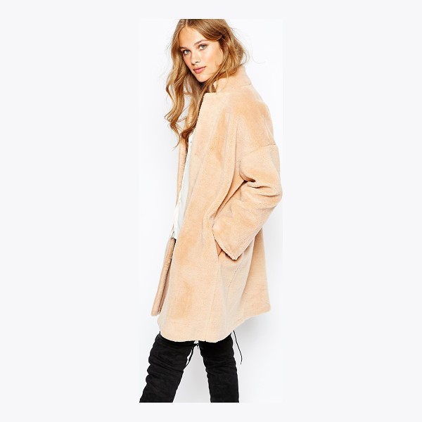 SUNCOO Elvie Coat - Coat by Suncoo, Faux fur, Fully lined, Stand collar, Button...