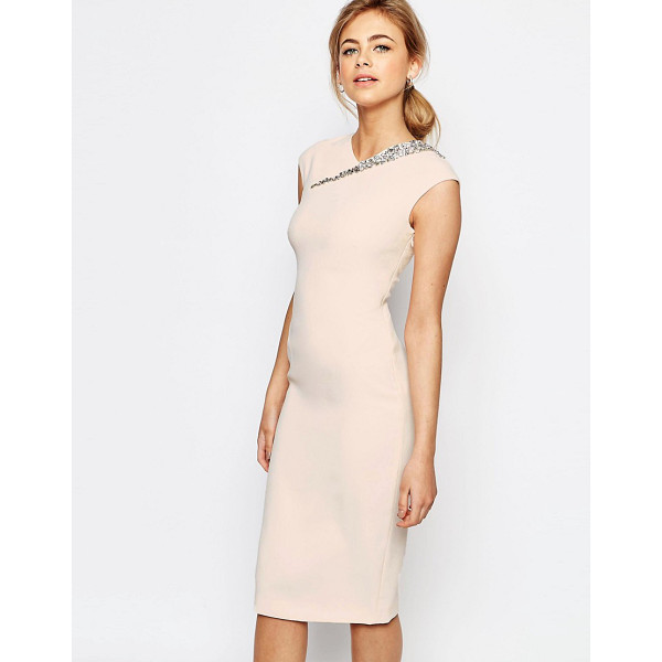 TED BAKER Cut Out Back Detail Dress - Dress by Ted Baker, Smooth woven fabric, V-neckline, Cap...