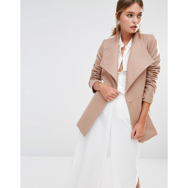 TED BAKER Elethea Short Wrap Collar Coat in Camel - Coat by Ted Baker, Wool-rich woven fabric, Contrast printed...