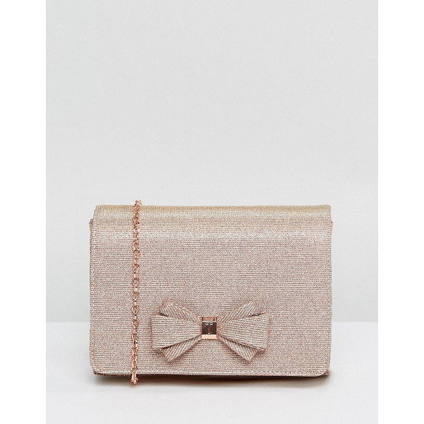 TED BAKER Kimmeyy Glitter Bow Evening Bag - Cart by Ted Baker, Textured outer, Metallic finish, Bow...