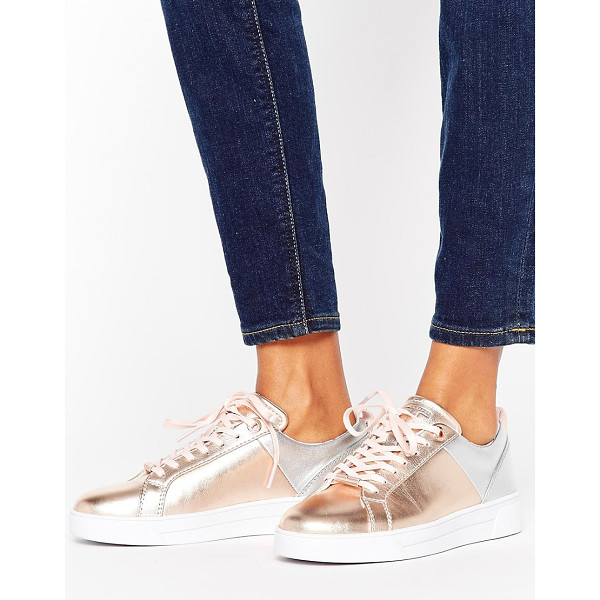 TED BAKER Kulei Metallic Leather Sneakers - Sneakers by Ted Baker, Leather upper, Lace-up fastening,...