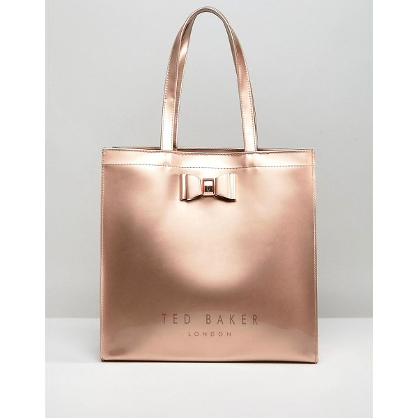 TED BAKER Large Icon Bag - Cart by Ted Baker, Metallic outer, Twin handles, Press-stud...