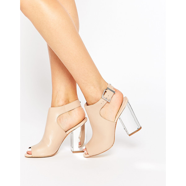 TED BAKER Montagny peeptoe block leather heeled sandals - Shoes by Ted Baker, Leather-look upper, Pin buckle...