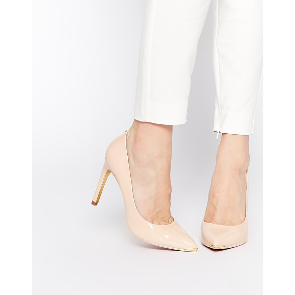 TED BAKER Neevo 4 Nude Patent Heeled Pumps - Shoes by Ted Baker, Leather upper, Glossy patent finish,...