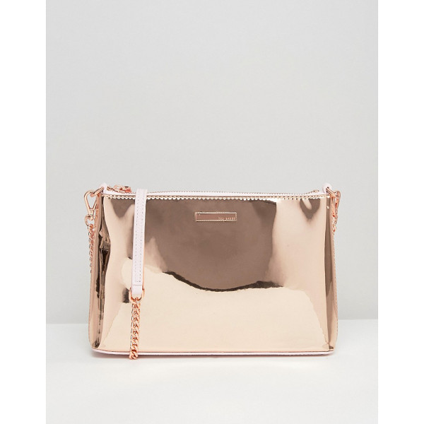 TED BAKER Rose Gold Cross Body Bag - Cart by Ted Baker, Metallic leather outer, Contraast...