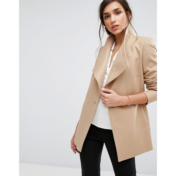 TED BAKER Short Wrap Coat - Coat by Ted Baker, Wool-rich fabric, Wrap front, Button...