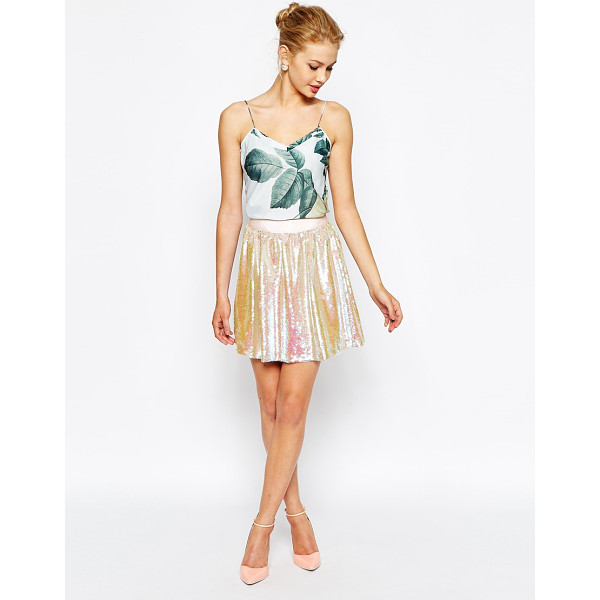 TED BAKER Skater skirt with all over sequin - Skirt by Ted Baker Lined woven fabric Mid-rise waist...