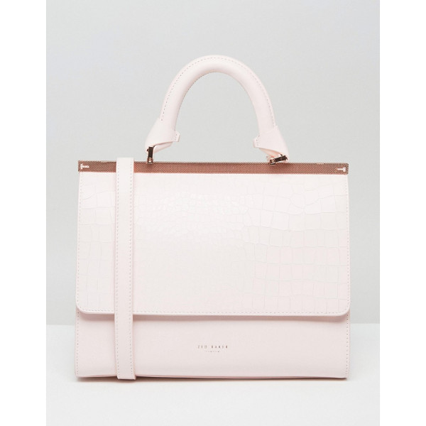 TED BAKER Textured Bar Top Handle Tote - Cart by Ted Baker, Textured leather outer, Printed lining,...