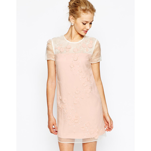 TED BAKER Tunic dress with embellished front - Evening dress by Ted Baker Pure silk Embellished organza...