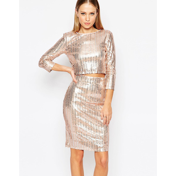 TFNC All Over Sequin Crop Top with Long Sleeves - Top by TFNC, Sequin embellished fabric, Round neckline,...