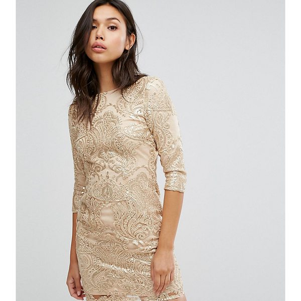 """TFNC Allover Sequin Dress With Scalloped Open Back - """"""""Dress by TFNC, Sequin-embellished fabric, High neck, 3/4..."""