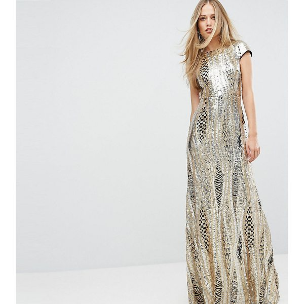 """TFNC Allover Sequin Maxi Dress - """"""""Maxi dress by TFNC, Sequin-embellished fabric, High neck,..."""