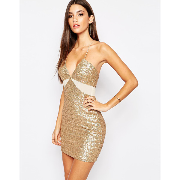 TFNC Allover Sequin Mini Dress with Cut Out Mesh Details - Party dress by TFNC, Sequin embellished fabric, Deep plunge...