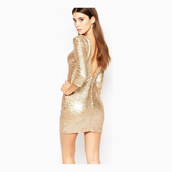 TFNC Allover Sequin Mini Dress with Deep Back and 3/4 Sleeve - Party dress by TFNC, Sequin embellished fabric, Mid-weight...