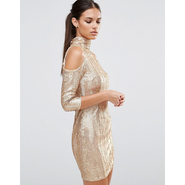 TFNC High Neck Sequin Mini Dress With Cold Shoulder - Dress by TFNC, High neck, Cold-shoulder cut, Nothing to