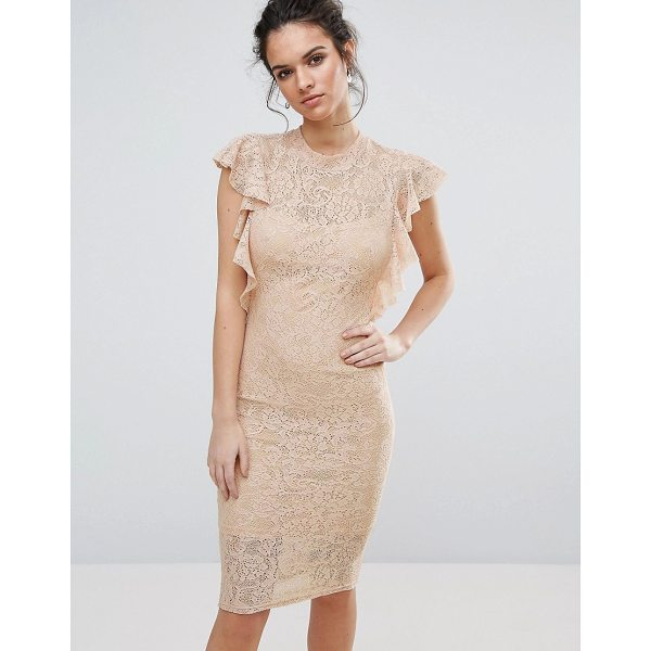 TFNC Lace Midi Dress with Frill Detail - Midi dress by TFNC, Lined lace, Crew neckline, Frill...