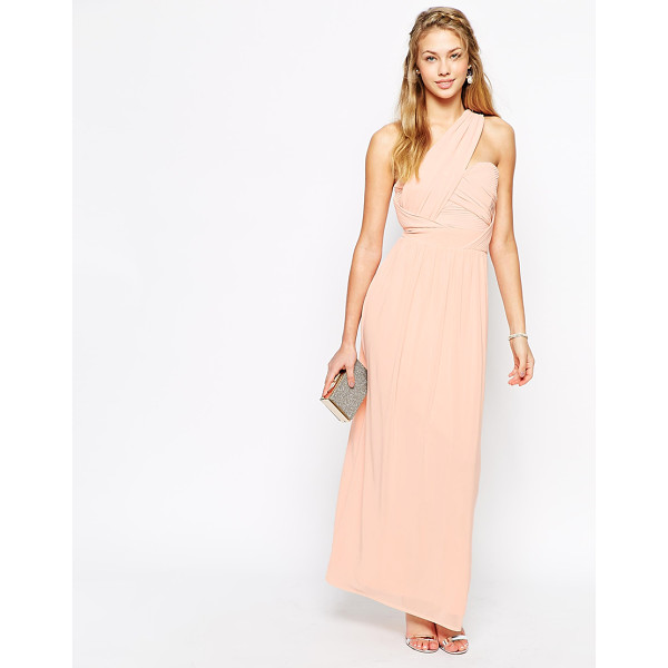 TFNC Maxi dress with one shoulder detail - Nude maxi dress by TFNC chiffon with silky-feel lining wrap