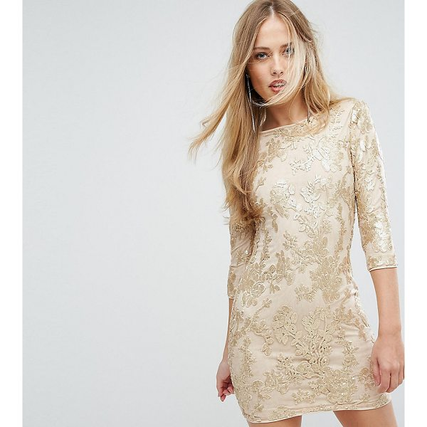 """TFNC Mini 3/4 Length Sleeve Sequin Dress - """"""""Mini dress by TFNC, Sequin-embellished mesh, Fully lined,..."""