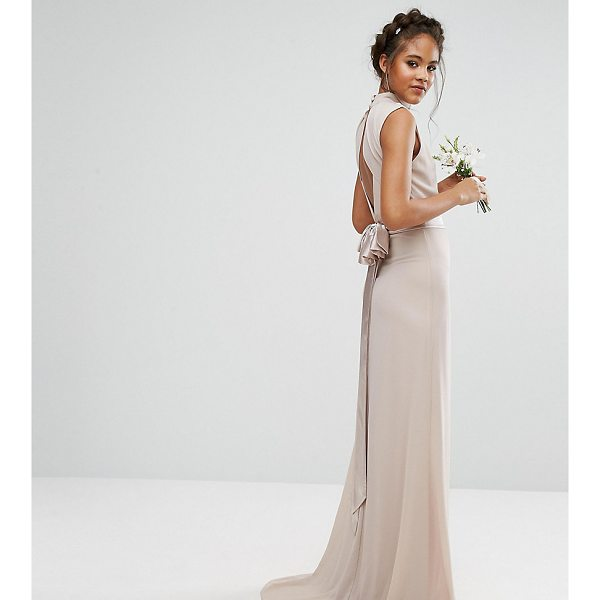 """TFNC TALL Wedding High Neck Maxi Dress With Bow Back - """"""""Tall dress by TFNC, Smooth woven fabric, High neck, Pleat..."""