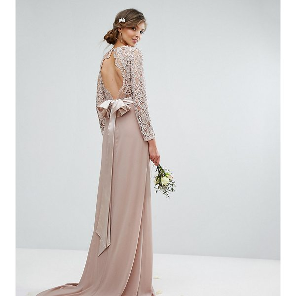 """TFNC TALL Wedding Lace Maxi Dress With Bow Back - """"""""Tall dress by TFNC, Semi-sheer lace top, Lined front,..."""