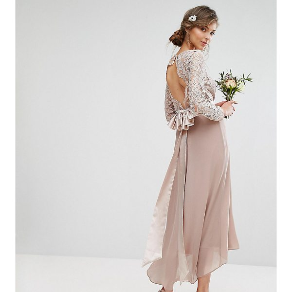 "TFNC TALL Wedding Lace Midi Dress With Bow Back - """"Tall dress by TFNC, Semi-sheer lace top, Lined front,..."