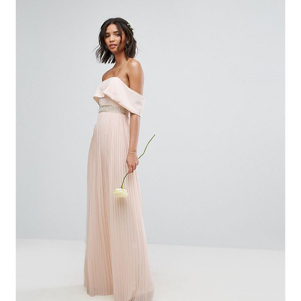 "TFNC Bardot Maxi Bridesmaid Dress with Pleated Skirt and Embellished Waist - """"Maxi dress by TFNC, Lined woven fabric, Off-shoulder..."