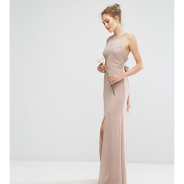 "TFNC WEDDING Chiffon Maxi Dress with Tonal Embellishment and Tie Detail - """"Maxi dress by TFNC, Lined chiffon, Halterneck with..."