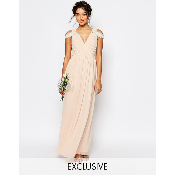 TFNC WEDDING Cold Shoulder Wrap Front Maxi Dress - Maxi dress by TFNC, Layered chiffon crepe, Pleated design,...