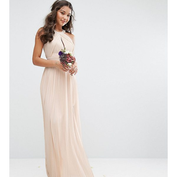 "TFNC Pleated Maxi Bridesmaid Dress - """"Maxi dress by TFNC, Lined chiffon, High neck, Cut-out..."
