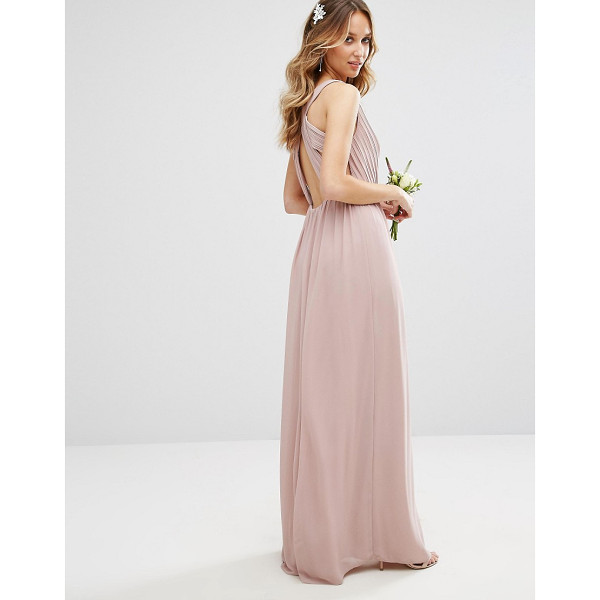 TFNC WEDDING Pleated Maxi Dress With Back Detail - Maxi dress by TFNC, Lined woven fabric, Wrap V-neck,...