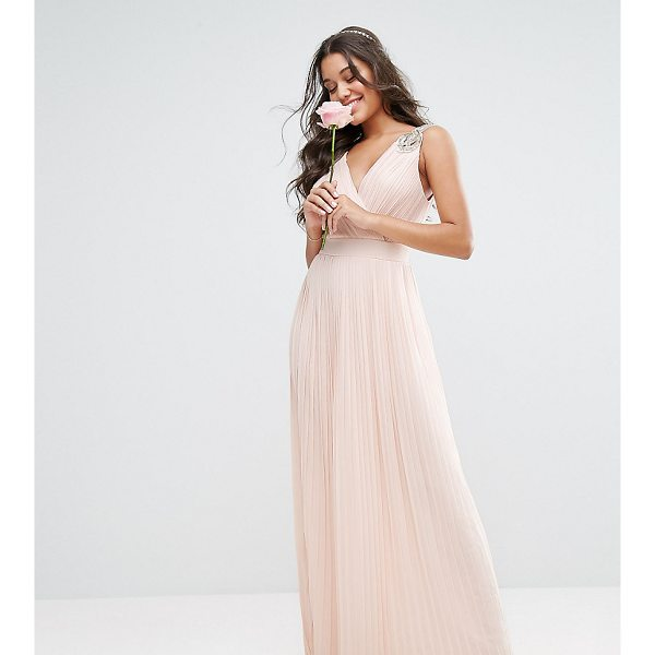 TFNC WEDDING Pleated Maxi Dress with Embellished Shoulder - Maxi dress by TFNC, Pleated chiffon, Fully lined, V neck,...