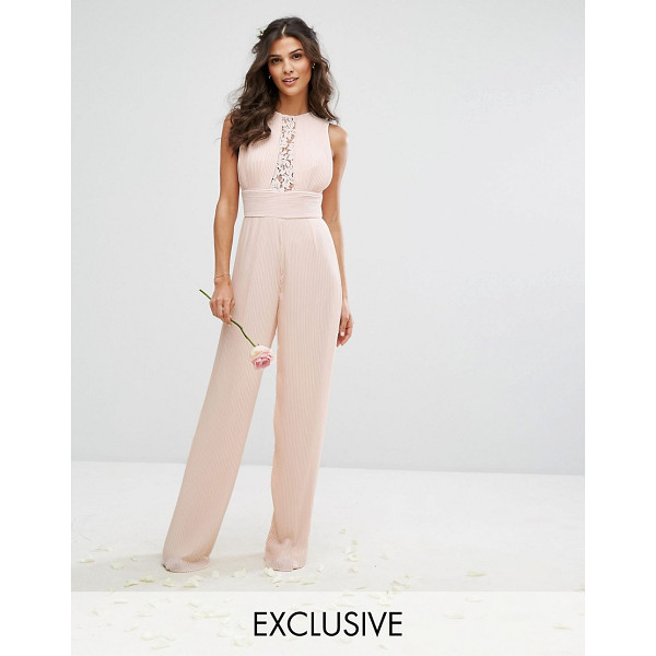 """TFNC WEDDING Pleated Wide Leg Jumpsuit with Lace Insert - """"""""Jumpsuit by TFNC, Pleated woven fabric, Round neck, Lace..."""