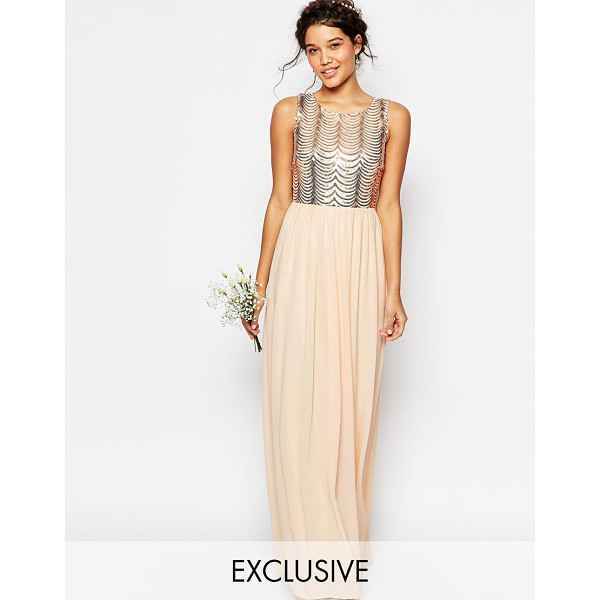 TFNC WEDDING Sequin Maxi Dress with Open Back - Maxi dress by TFNC, Sequin embellished mesh top, Scalloped...