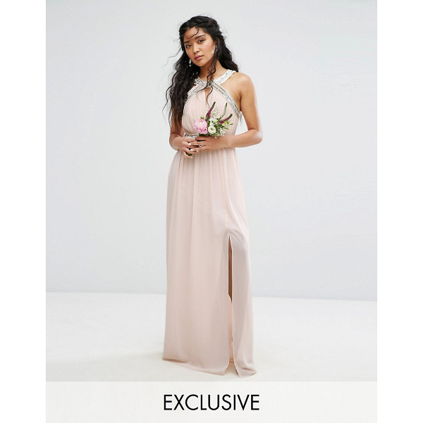 TFNC WEDDING Wrap Front Halter Maxi Dress with Embellishment - Maxi dress by TFNC, Lined chiffon, High neck, Embellished...