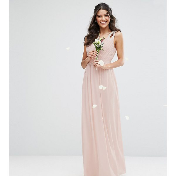"TFNC WEDDING Wrap front Maxi Dress with Embellishment - """"Maxi dress by TFNC, Lined chiffon, V-neck, Embellished..."