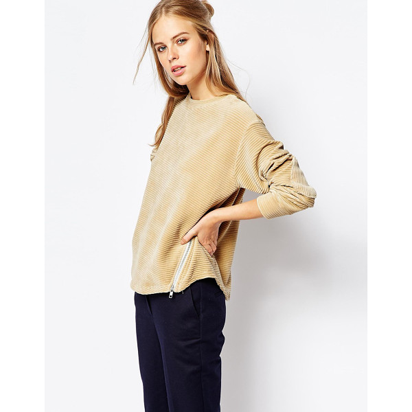 THE LADEN SHOWROOM X among cord shell sweat with zip detail - Sweatshirt by The Laden Showroom Soft-touch, ribbed cord...