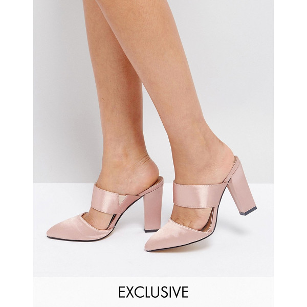"THE MARCH Blush Satin Heeled Mules - """"Mules by The March, Satin upper, Slip-on style, Pointed..."