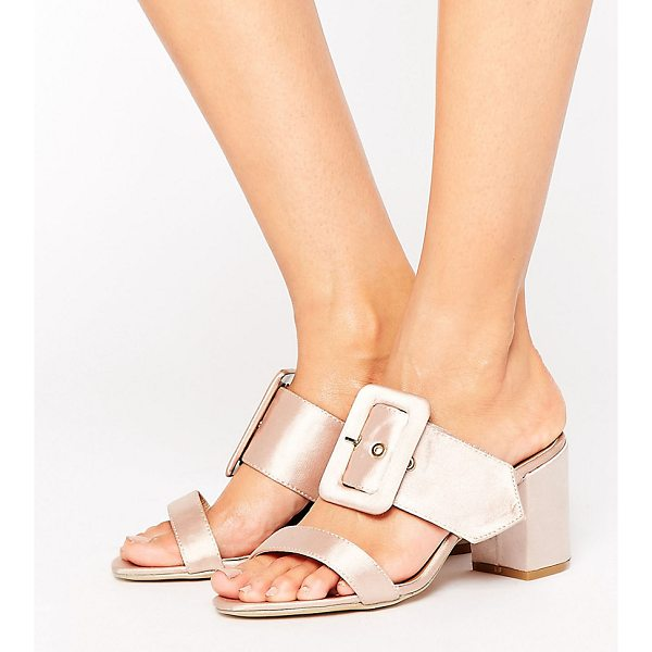 THE MARCH Buckle Mid Heeled Mules - Shoes by The March, Smooth textile upper, Metallic rose...