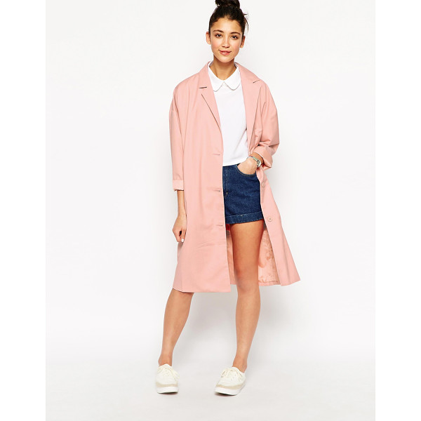 THE WHITEPEPPER Oversized pastel duster coat - Coat by The WhitePepper Soft touch woven fabric Notched...