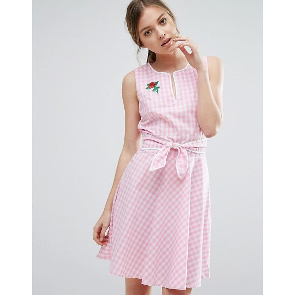 """TROLLIED DOLLY Gingham Skater Dress With Tie Waist And Rose Badge - """"""""Casual dress by Trollied Dolly, Crisp cotton, High..."""